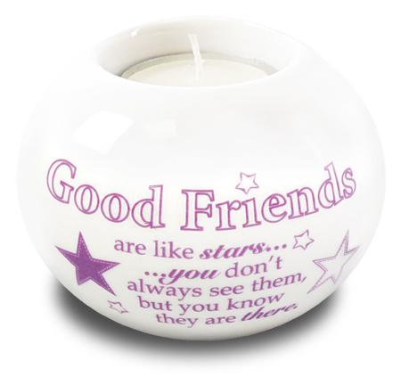 Porcelain Candle Holder Good Friends