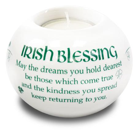 Porcelain Candle Holder Irish Blessing