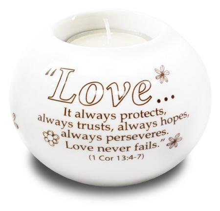 Porcelain Candle Holder Love Always Protects