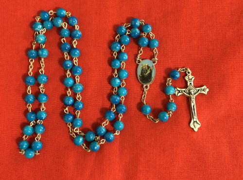 Rosary Our Lady of Walsingham Blue Opaque