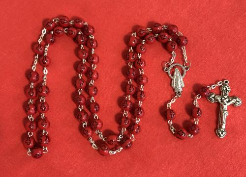 Rosary (red beads with crosses)