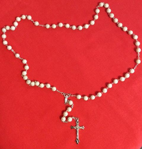 Rosary White and Silver