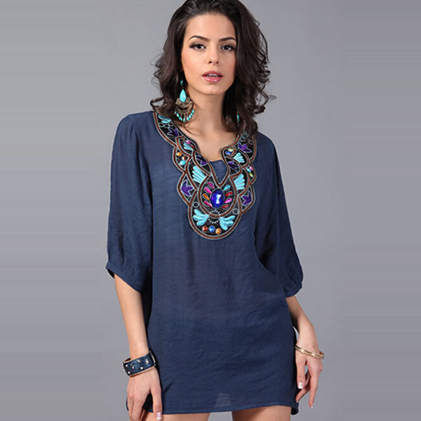 Embroidered Feminine Blouse Bead Shirts Female Elegant Cotton Blended long Blouse