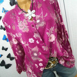 Ladies' Stand Collar Button Printed Long Sleeves Tops Blouse