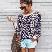 Women Leopard Print One Shoulder Top Womens Blouses