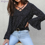 Chiffon Blouse Women Transparent Flare Sleeve Silk Blouse