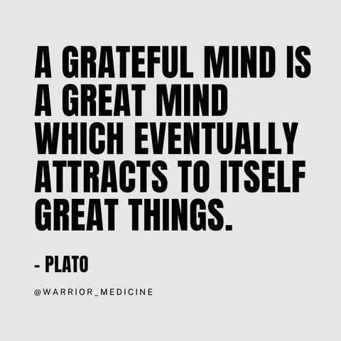 """""""A grateful mind is a great mind which eventually attracts to itself great things. warrior medicine Plato"""