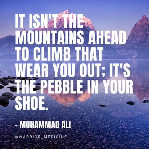 warrior medicine inspirational quote muhammad ali It isnt the mountains ahead to climb that wear you out its the pebble in your shoe blue mountains with snowy peaks reflected on lake water large white bold text