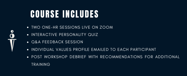 warrior medicine team values workshop course includes two one hour sessions live on zoom interactive personal values quiz navy blue background