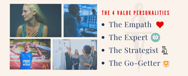warrior medicine team values workshop the 4 value personality types empath expert strategist go getter heart brain chess trophy icons red font