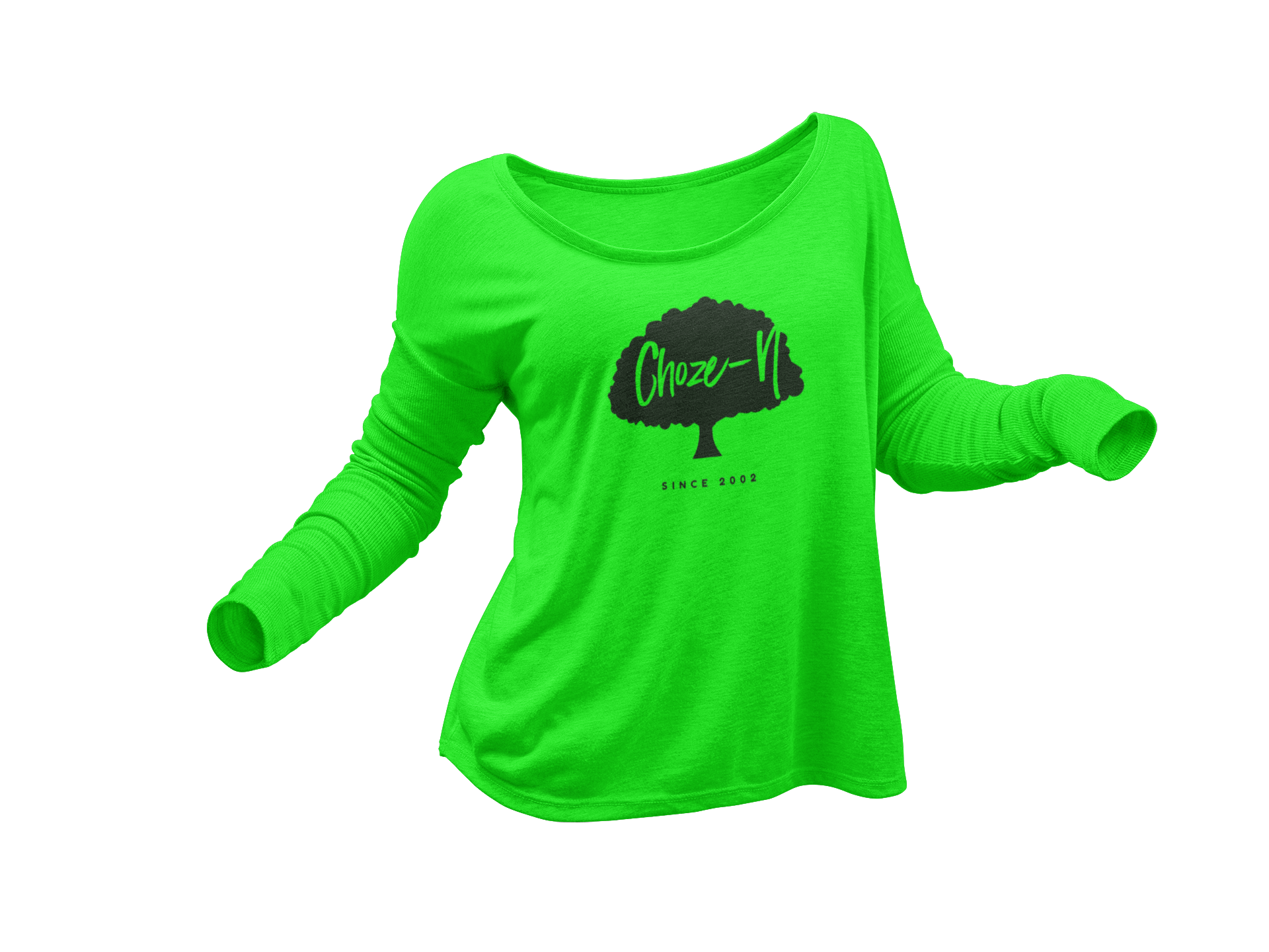 Choze-N Ladies Long Sleeve Black Tree Green Shirt•