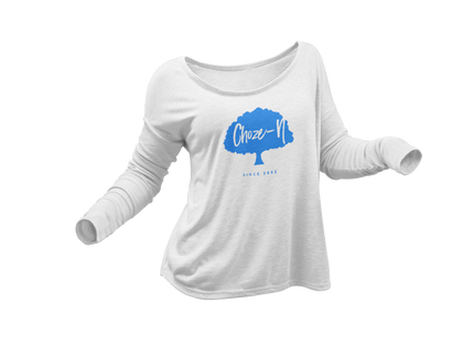Choze-N Ladies Long Sleeve Blue Tree White Shirt