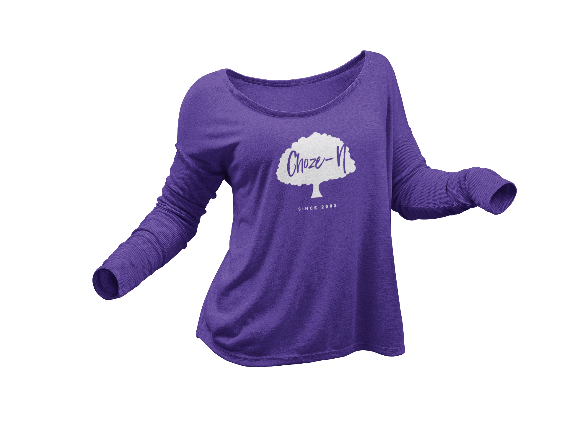 Choze-N Ladies Long Sleeve White Tree Purple Shirt•