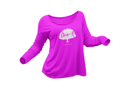 Choze-N Ladies Long Sleeve White Tree Pink Shirt