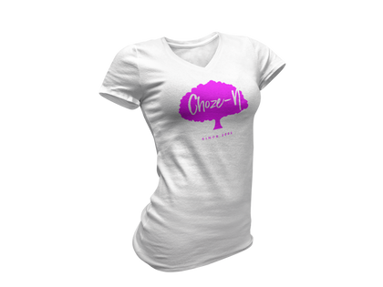 Choze-N Ladies Pink Tree White Shirt