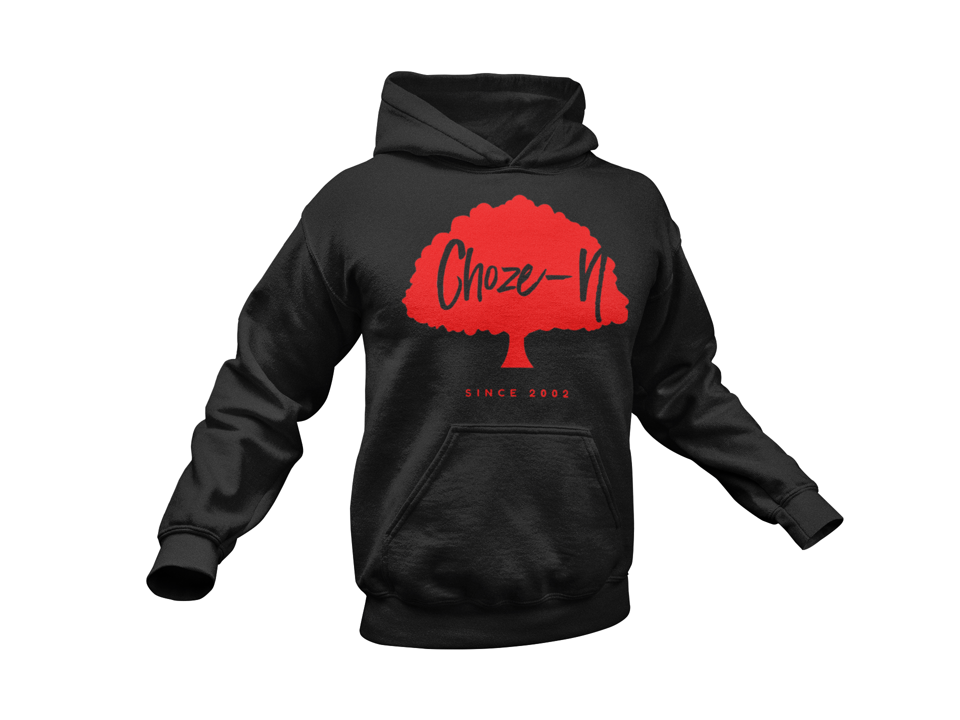 Choze-N Bold Black Hoodie Red Tree