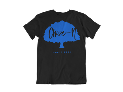 Choze-N Bold Black Shirt Blue Tree T-Shirt