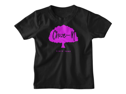 Choze-N Angels Kids Black T-Shirt Pink Tree