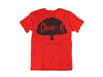 Choze-N Bold Red Shirt Black Tree T-Shirt