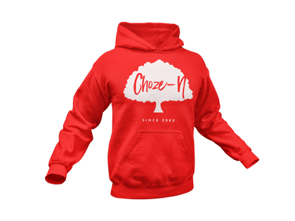Choze-N Bold Red Hoodie White Tree