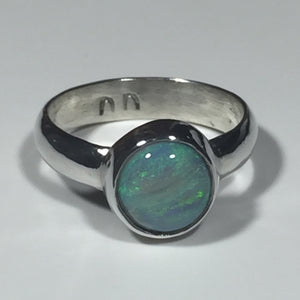 "Custom Green ""Big Opal"" Ring (Size 6 or L)"