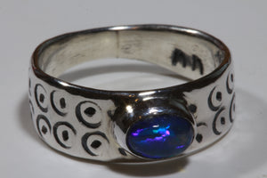 Custom Blue Opal Ring (size O1/2 or 7 3/4)