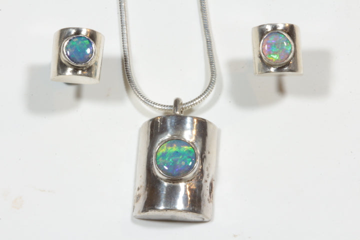 Green Opal Pendant and Earrings
