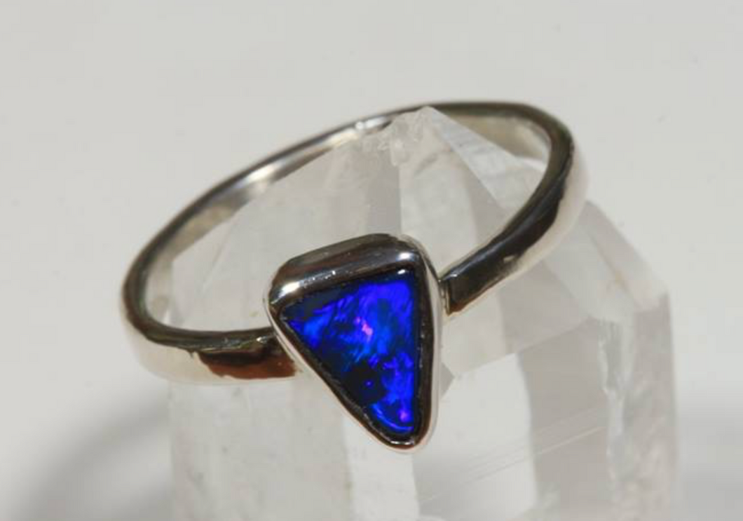 Triangle Black Opal Ring