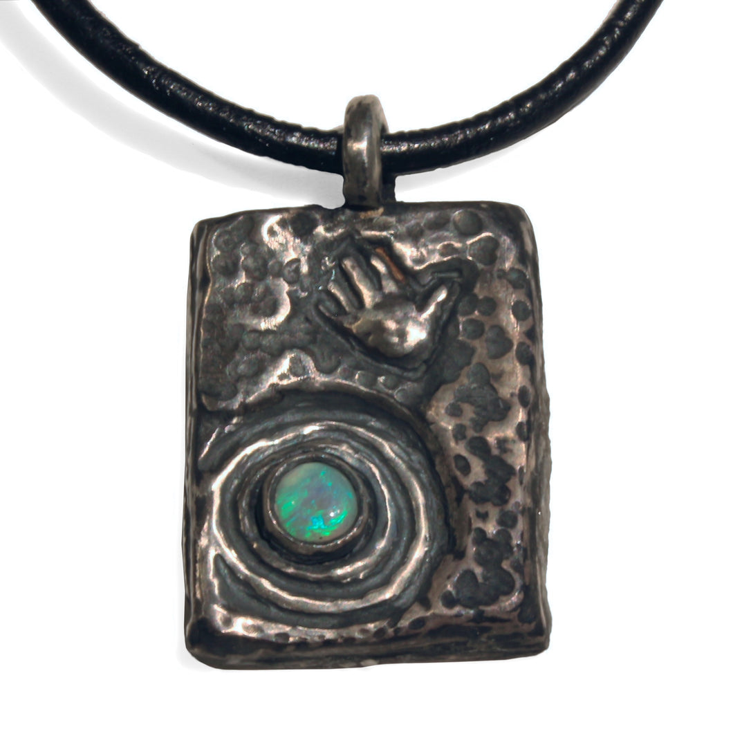 Dreamtime Silver Opal Pendant necklace