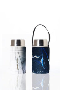 """Foodie""  An insulated lunch container & carry cover 750ml stainless steel - Marble print"