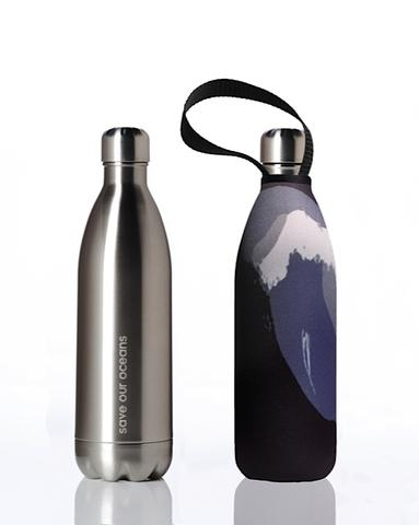 Stainless Steel Insulated Bottle + Carry Cover 1000ml - Black Wave Print