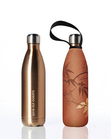 Stainless Steel Insulated Bottle + Carry Cover 750ml - Bamboo Print