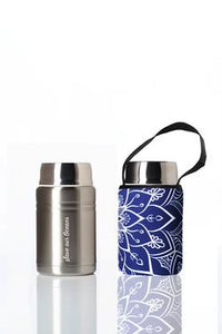 """Foodie""  An insulated lunch container & carry cover 500ml stainless steel - Mandala print"
