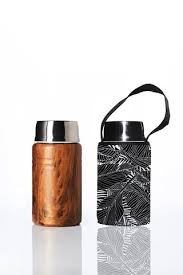 """Foodie""  An insulated lunch container & carry cover 750ml stainless steel - Black Leaf print"
