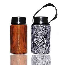 """Foodie""  An insulated lunch container & carry cover 500ml stainless steel - Koru print"