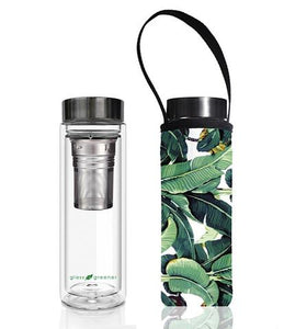 Glass is Greener: Double Wall Thermal Tea Flask + Carry Cover 500 ML - Banana Print
