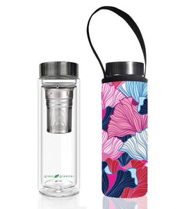 Glass is Greener: Double Wall Thermal Tea Flask + Carry Cover 500 ML - Fan Print