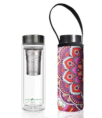 Glass is Greener: Double Wall Thermal Tea Flask + Carry Cover 500 ML - Mandala Print