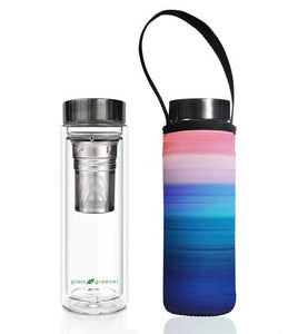 Glass is Greener: Double Wall Thermal Tea Flask + Carry Cover 500 ML - Peace Print
