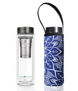 Glass is Greener: Double Wall Thermal Tea Flask + Carry Cover 500 ML - Tokyo Print