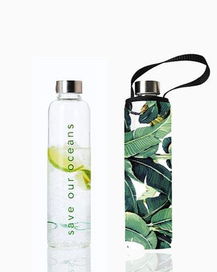 GLASS IS GREENER + CARRY COVER - 750 ML - Banana Leaf Print