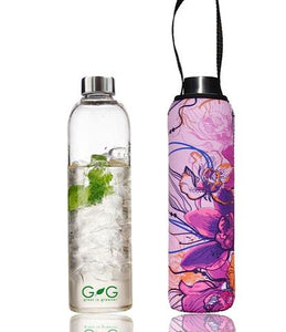 "GLASS IS GREENER 750 ML BOTTLE + CARRY COVER ""Butterfly"""