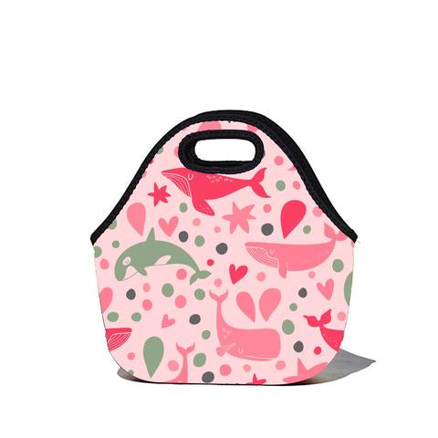 Lunchtime Bag - Pink Whale Print