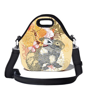 Lunchtime Bag with Carry Strap - Bunni Print