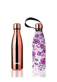 Stainless Steel Insulated Bottle + Carry Cover 500ml - Pink Rose Print