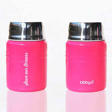 """Foodie""  An insulated lunch container & carry cover 500ml stainless steel - Hot Pink"