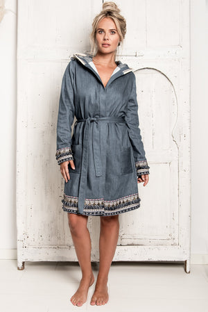 New denim bathrobe of True Bandits, hygge robe, with towelling fabric inside, nice details, warm, soft, special and unique