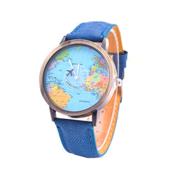 Denim World Map Watch-Shop The Best Online Deals
