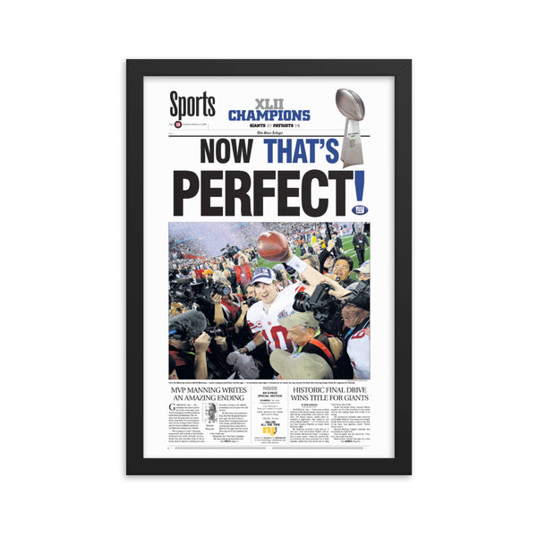 Giants 2007-08 Super Bowl champs framed sports front page keepsake