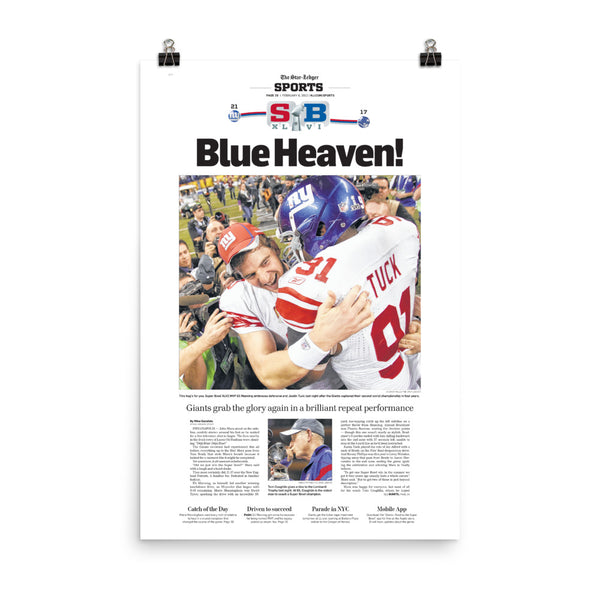 Giants 2011-12 Super Bowl champs sports front page poster reprint
